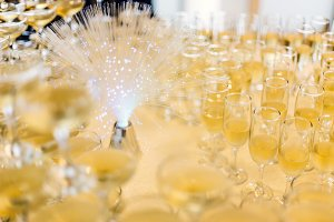 Lot of champagne glasses