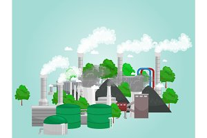 renewable ecology energy icons, green city power alternative resources concept, environment save new technology, solar and wind electricity vector illustration