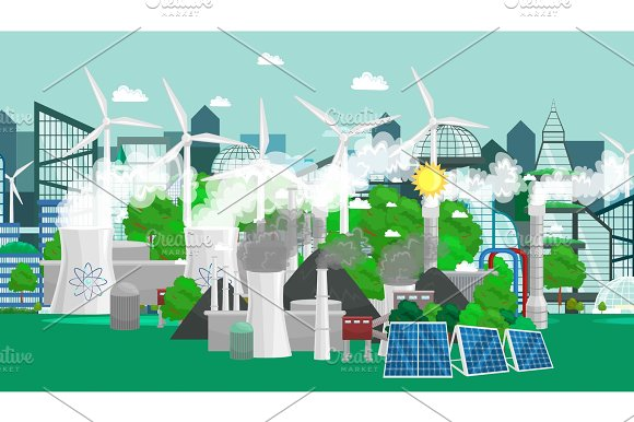 Renewable Ecology Energy Icons Green City Power Alternative Resources Concept Environment Save New Technology Solar And Wind Electricity Vector Illustration