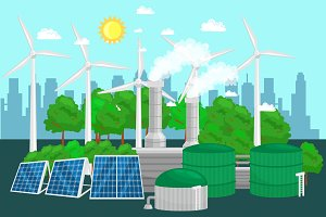 concept of alternative energy green power, environment save, renewable turbine energy, wind and solar ecology electricity, ecological industry vector illustration