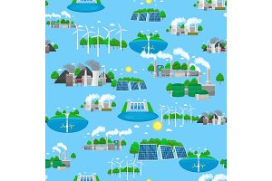 Seamless pattern renewable ecology energy, green city power alternative resources concept, environment save new technology, solar and wind electricity vector illustration background