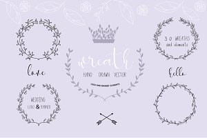 Wreath Hand drawn Vector banner logo
