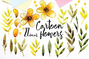 Cartoon flowers, watercolor