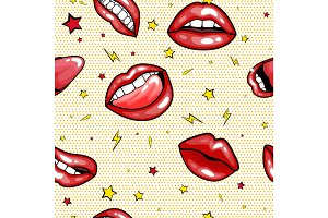 Seamless pattern cartoon comic super speech bubble labels with text, sexy open red lips with teeth, retro cartoon vector pop art illustration, halftone dot vintage effect background