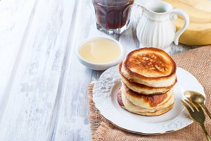 Homemade pancakes with coffee