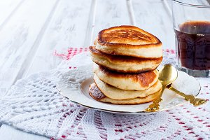 Stack homemade pancakes