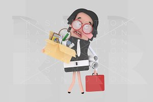 Sad businesswoman holding a box