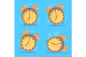 Alarm Clock Set. Vector