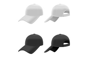 Realistic Baseball Cap Set. Vector