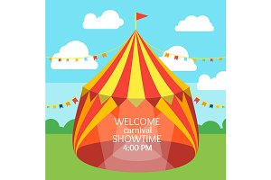 Circus Tent Set and Invitation Card