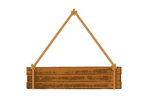 Wooden signboard on the rope