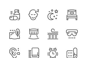 Set line icons of sleep