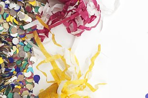 Background of confetti. Copyspace. Carnival, party, celebration.