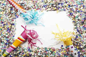 Background of confetti and over white background. Carnival, party, celebration. Copyspace.
