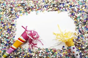 Background of confetti and over white background. Carnival, party, celebration.