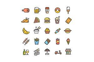 Fastfood Street Food Set and Pattern