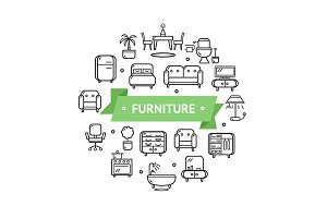 Furniture Round Thin Line Icon
