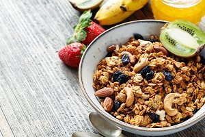 Granola, honey and fruits