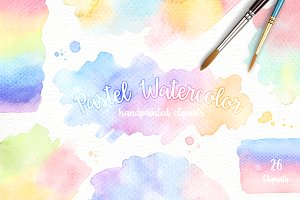 Pastel Watercolor Splashes Clipart
