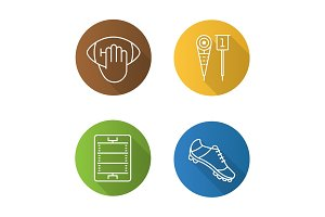 American football flat linear long shadow icons set