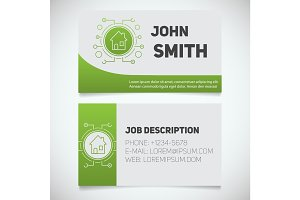 Business card print template with smart house logo