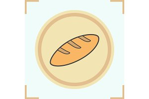 Long loaf of bread color icon