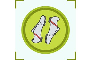 Soccer boots color icon