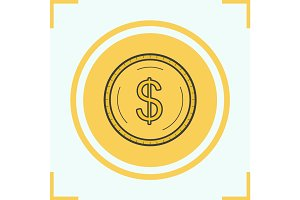 Gold dollar coin color icon