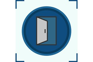 Open door color icon