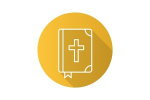 Holy Bible flat linear long shadow icon