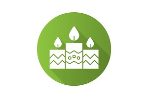 Church candles flat design long shadow icon