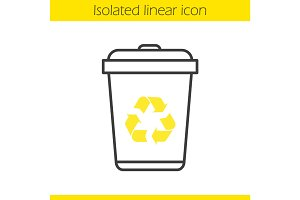 Recycle bin linear icon
