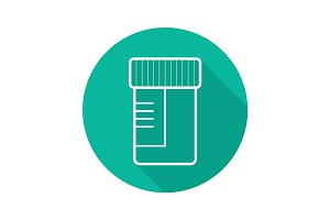 Medical tests jar flat linear long shadow icon