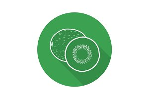 Kiwi fruit flat linear long shadow icon