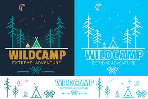 Outline Camping Labels + Elements