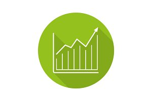 Market growth chart. Flat linear long shadow icon