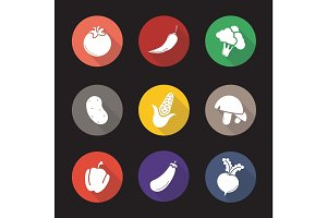 Vegetables flat design long shadow icons set
