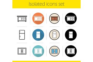 Kitchen interior icons set