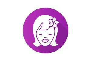Girl with plumeria flower. Flat design long shadow icon
