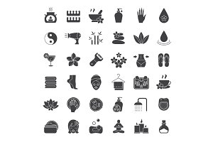 Spa salon glyph icons set