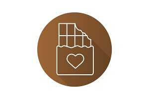 Chocolate bar flat linear long shadow icon