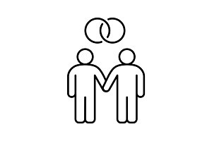 Gay marriage linear icon