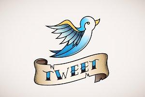Retro Tattoo Bird Illustration