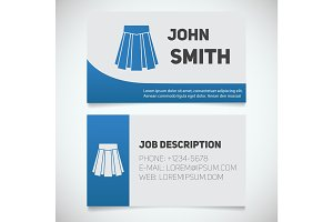 Business card print template with skirt logo