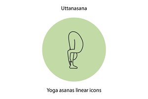Uttanasana yoga position linear icon