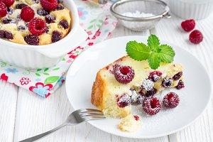 Homemade casserole with cottage cheese, semolina and raspberries, horizontal
