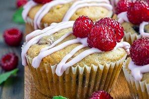 Banana bread muffins with raspberries, cherries and white chocolate