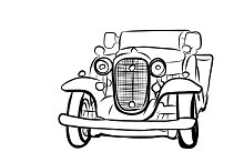 Drawing of old vintage car