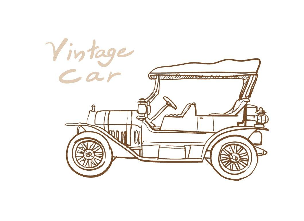 Drawing of old vintage car ~ Illustrations ~ Creative Market
