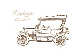 Drawing of old vintage car